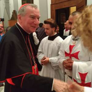 The Catholic Templars on the occasion of the feast of St. Francis of Assisi participate in the Eucharistic celebration presided by His Eminence Cardinal Parolin Secretary of the Vatican State in Massa Carrara